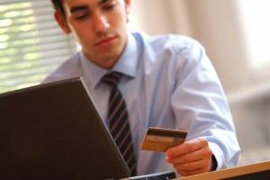Man Checking Credit Card